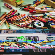 VIDEO - SOTEN painting a train canvas